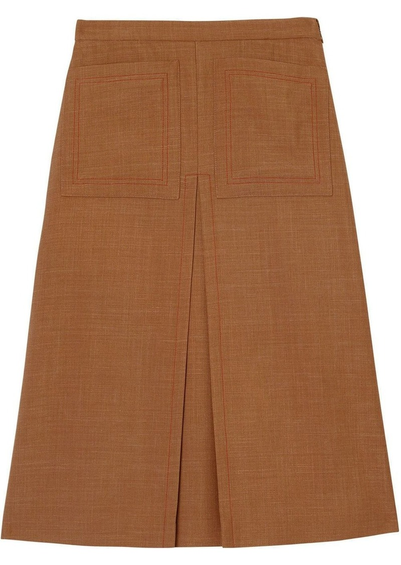 Burberry Topstitch Detail Wool Silk Mohair Linen A-line Skirt