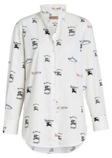 Burberry Triple Archive Logo Print Stretch Cotton Shirt