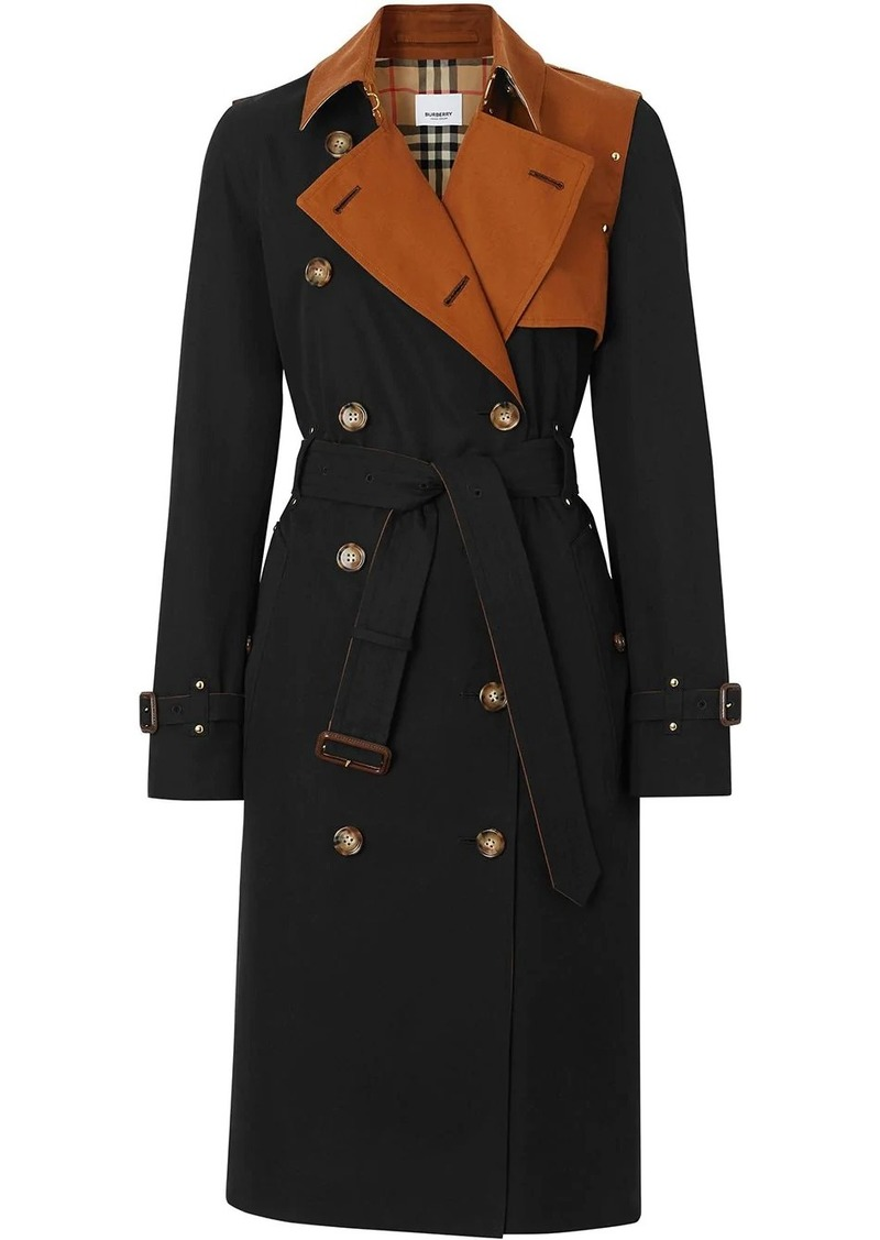 Two-tone Cotton Gabardine Trench Coat