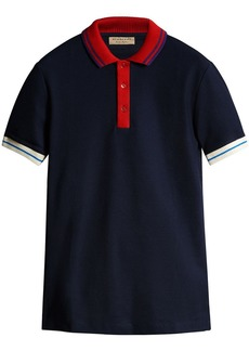 Burberry Two-tone Stripe Knitted Detail Cotton Polo Shirt