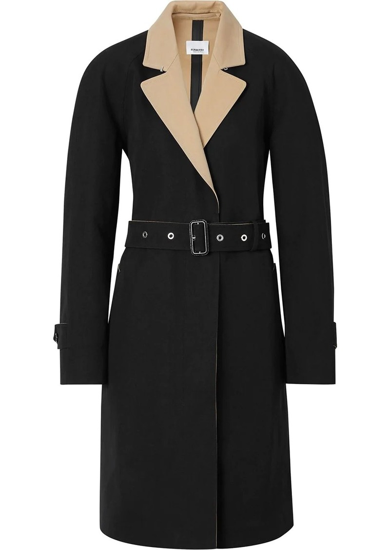 Burberry Two-tone Tropical Gabardine Belted Car Coat