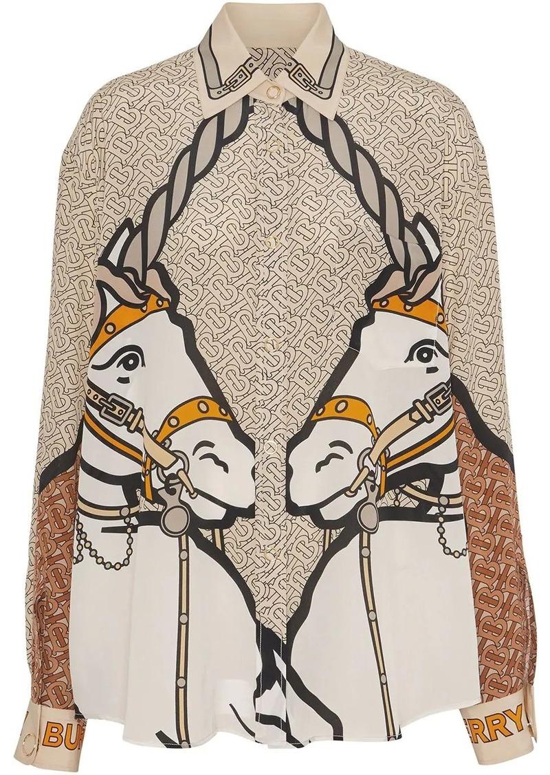 Burberry Unicorn and Monogram Print Silk Shirt
