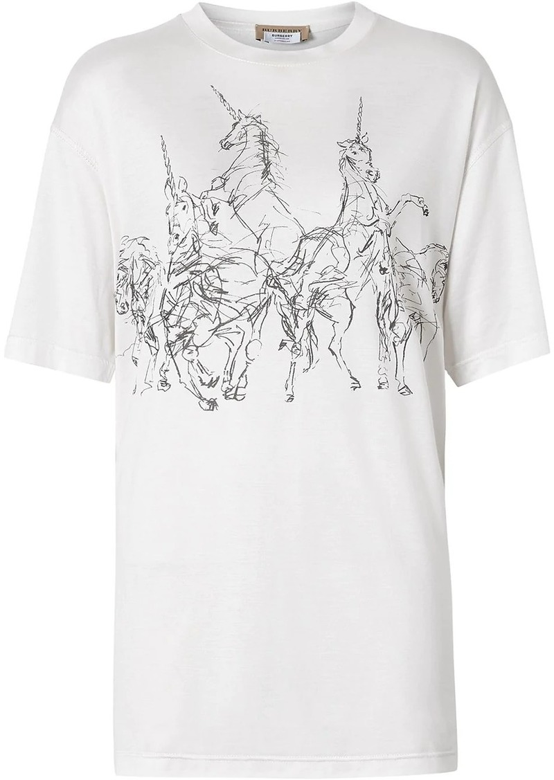 Burberry Unicorn Sketch Print Jersey Oversized T-shirt