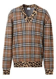 Burberry V-Neck Check & Leopard Print Sweater