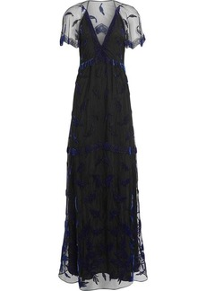 Burberry Velvet Leaf Cap-sleeve Gown