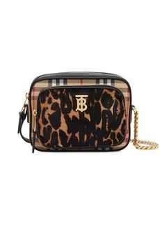 Burberry Vintage check and leopard print calf hair camera bag