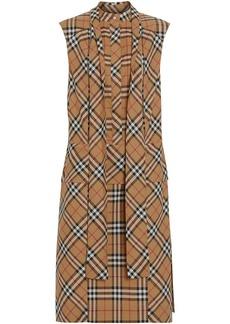 Burberry Vintage Check Cotton Tie-neck Dress