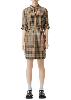 Burberry Vintage Check Cotton Tie-waist Shirtdress