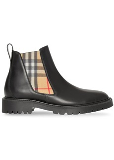 8a53a7585 Burberry Vintage Check Detail Leather Chelsea Boots