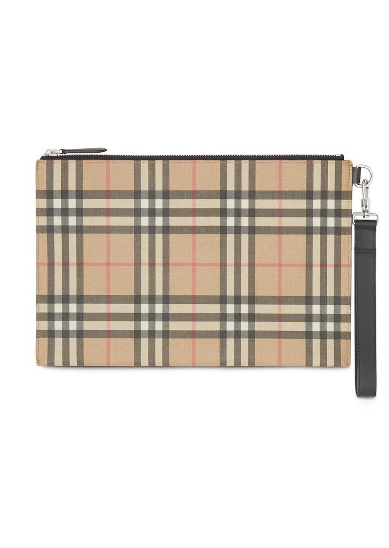 Burberry Vintage Check E-canvas and Leather Zip Pouch