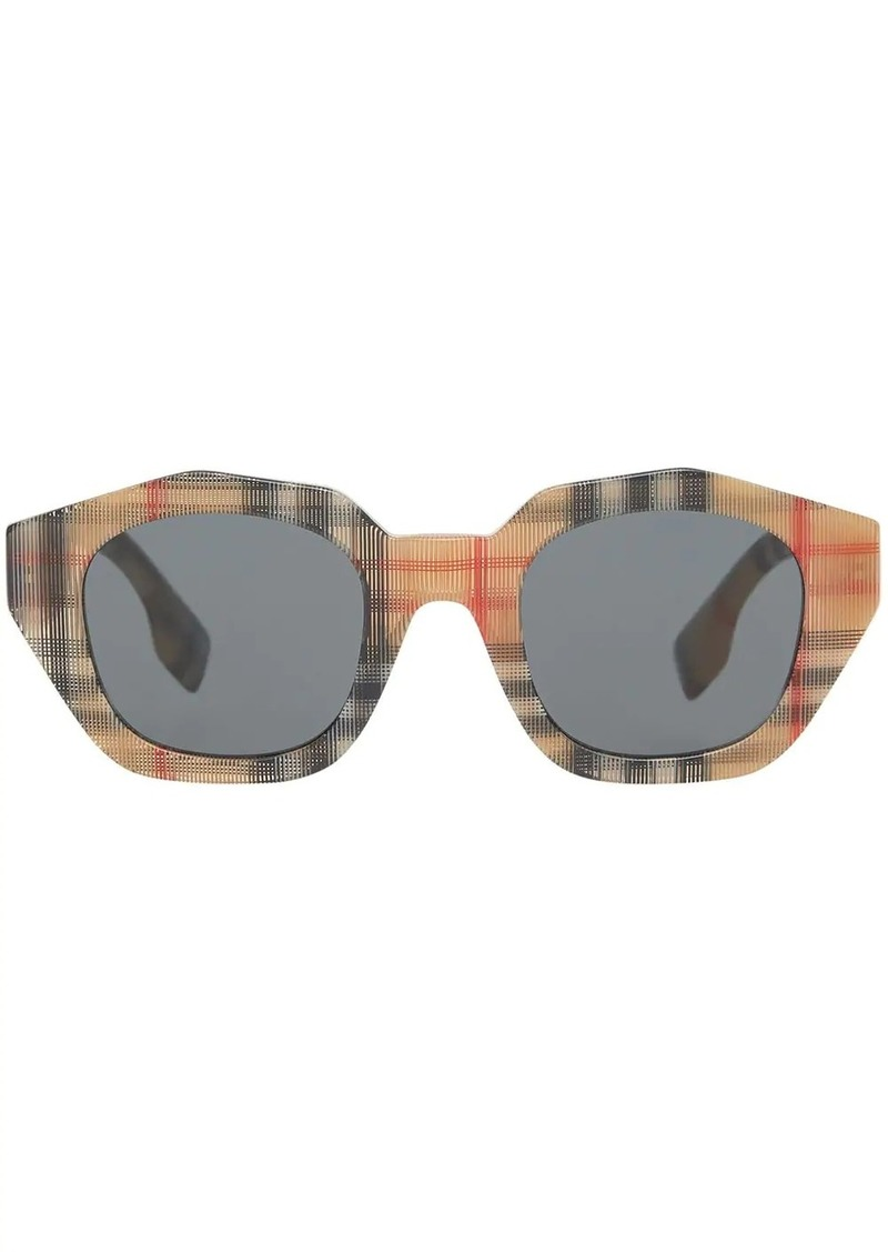 Burberry Vintage Check Geometric Frame Sunglasses