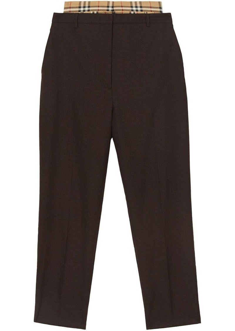 Burberry Vintage Check panel Double-waist Wool Trousers
