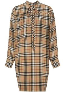Burberry Vintage Check Silk Tie-neck Dress