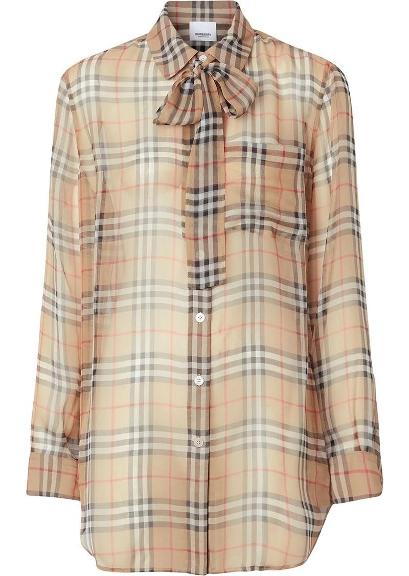 Burberry Vintage Check Silk Tie-neck Shirt