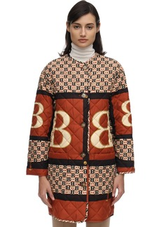 Burberry Vintage Print Quilted Satin Coat