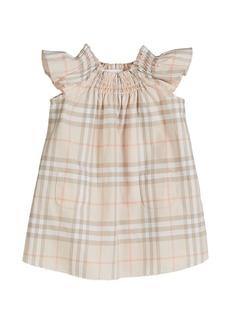 Burberry Vinya Washed Check Flutter-Sleeve Dress  Size 6M-2