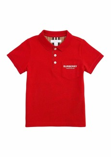 Burberry Wesley Polo Shirt w/ Logo Print Front Pocket  Size 3-14