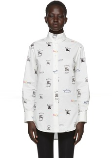 Burberry White All Over Logo Stand Collar Shirt