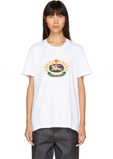 Burberry White Embroidered Logo Boyfriend T-Shirt