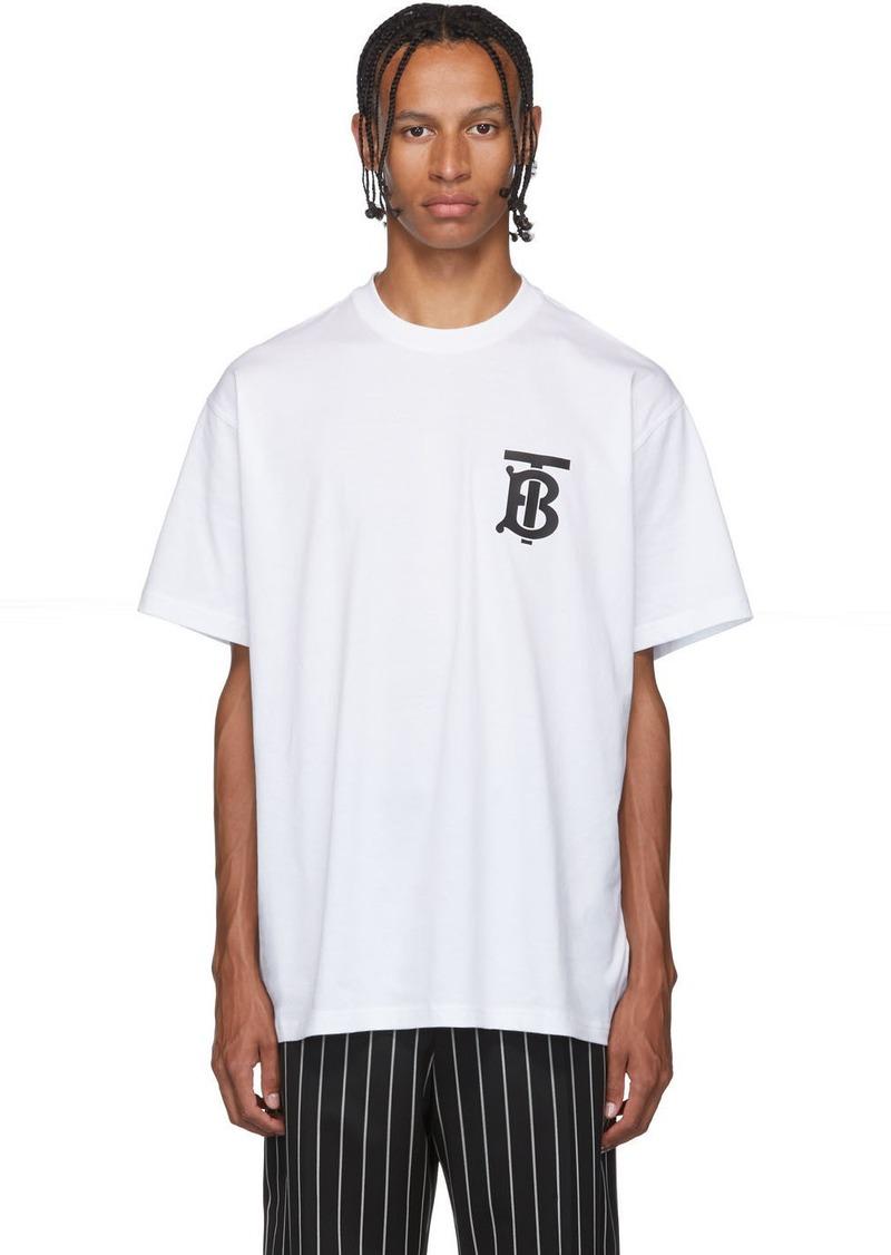 Burberry White Emerson 'TB' T-Shirt