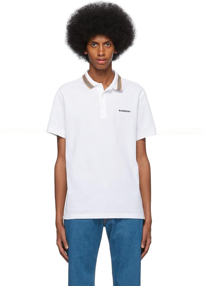 Burberry White Icon Stripe Collar Polo