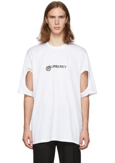 Burberry White Logo Cut-Out T-Shirt