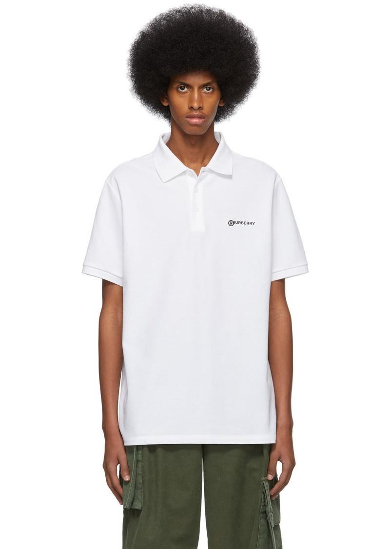 Burberry White Logo Oversized Polo