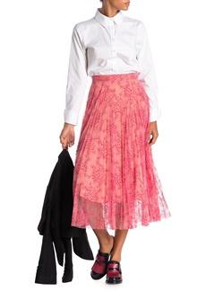 Burberry Wilton Pleated Silk Lace Midi Skirt