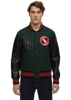 Burberry Wool Bomber Jacket W/ Leather Sleeves