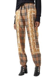 Burberry Yewbury Scarf-Print Silk Jogger Pants