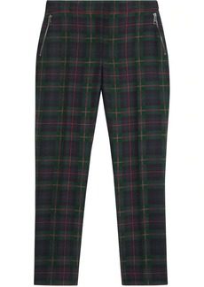 Burberry Zip Detail Check Wool Blend Trousers