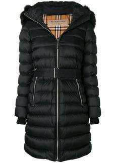 Burberry zip front fur trimmed coat