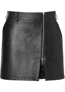 Burberry Zip-front Leather Mini Skirt