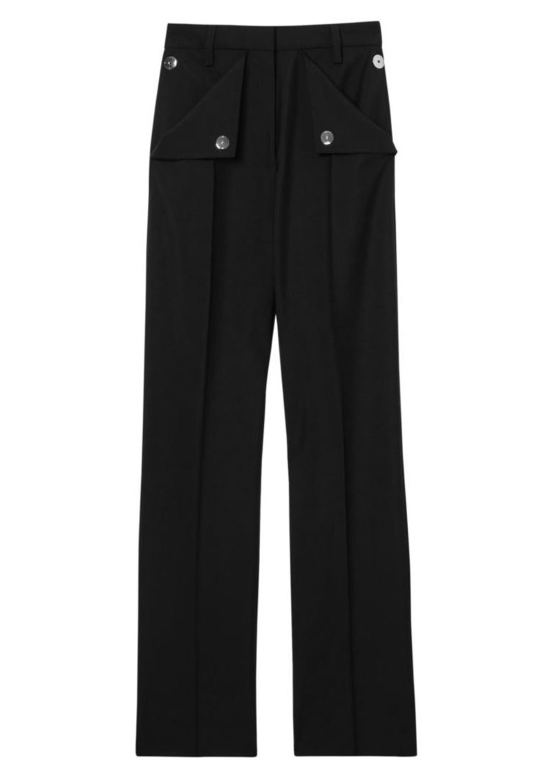 Burberry Zohra Button Pocket Wool & Mohair Pants