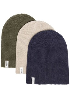 Burton green, navy and grey 3 pack logo knitted beanie hats