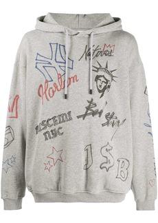 Buscemi grey graffiti hoodie