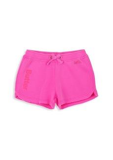 Butter Little Girl's & Girl's Burnout Fleece Varsity Shorts