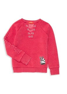 Butter Little Girl's & Girl's Combat Boot Burnout Fleece Sweatshirt