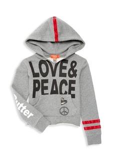 Butter Little Girl's & Girl's Love & Peace Hoodie