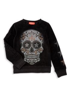 Butter Little Girl's & Girl's Stretch Velour Skull Sweatshirt