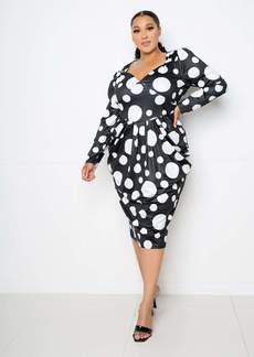 Buxom Couture Polka Dot Drop Waist Dress