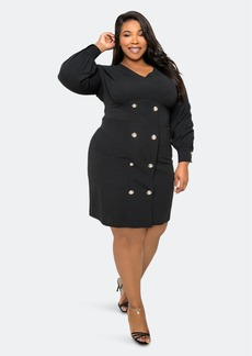 Buxom Couture Double Breasted Mini Dress - 1X - Also in: 2X, 3X