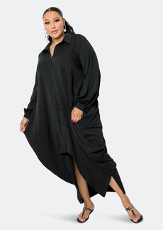 Buxom Couture Drapy Shirt Maxi Dress - 1X - Also in: 2X, 3X