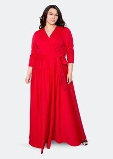 Buxom Couture Everyday Surplice Scuba Maxi Dress - 2X - Also in: 1X