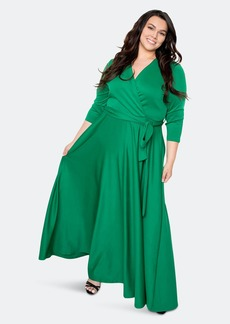 Buxom Couture Everyday Surplice Scuba Maxi Dress - 3X - Also in: 1X