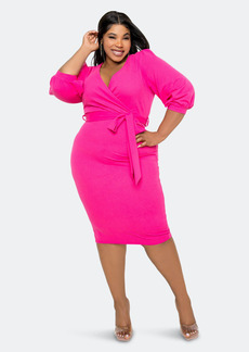 Buxom Couture Everyday Wrap Midi Dress - 1X - Also in: 2X