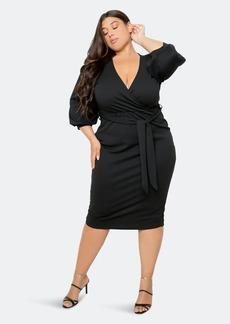 Buxom Couture Everyday Wrap Midi Dress - 3X