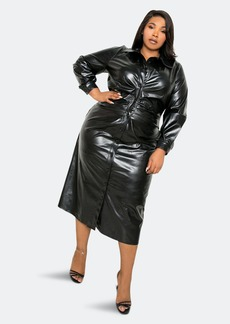 Buxom Couture Leather Effect Ruched Waist Shirt Dress - 1X - Also in: 2X