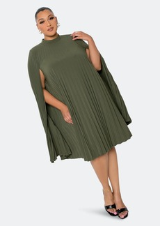 Buxom Couture Pleated Cape Dress - 3X