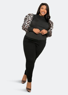 Buxom Couture Ribbed Top With Animal Print Sleeves - 3X - Also in: 2X, 1X